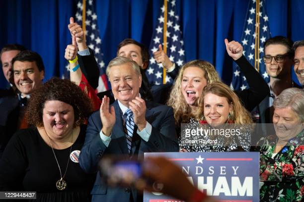 Incumbent candidate Sen. Lindsey Graham celebrates a win during his election night party on November 3, 2020 in Columbia, South Carolina. Graham...