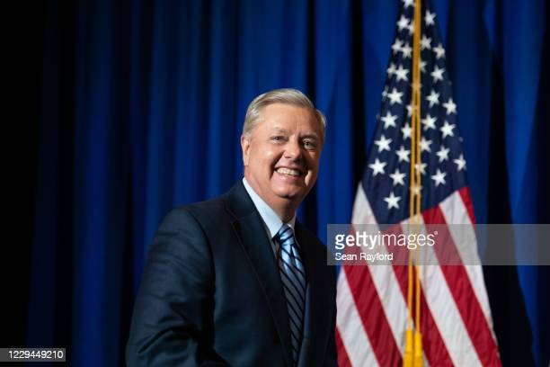 Incumbent candidate Sen. Lindsey Graham walks on stage after a win during his election night party on November 3, 2020 in Columbia, South Carolina....
