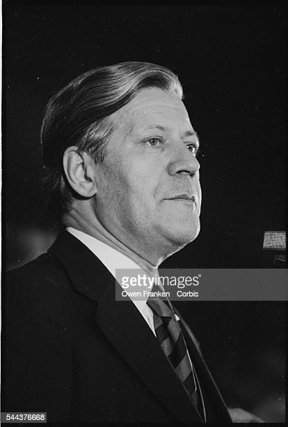 Incumbent Chancellor Helmut Schmidt of the Social Democratic Party at a campaign rally during the 1976 election against Helmut Kohl of the Christian...