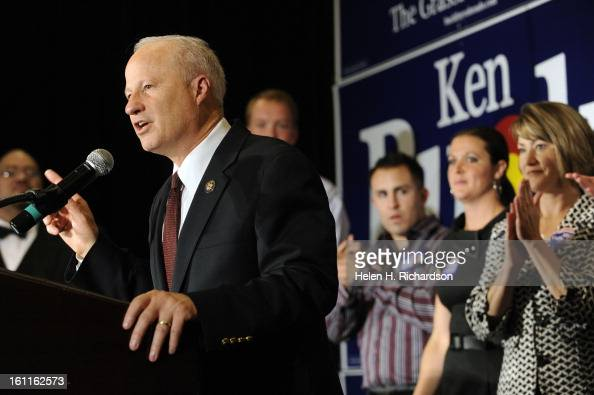 Incumbent Congressman Mike Coffman gives his victory speech in a ballroom at the DoubleTree Hotel Helen H Richardson/ The Denver Post