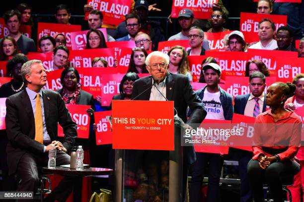 Incumbent NYC Mayor Bill de Blasio was joined by his wife Chirlane McCray and US Senator from Vermont Bernie Sanders in a rally on Manhattan's West...