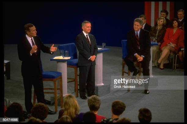 Incumbent Pres. Bush, Independent cand. TX magnate Ross Perot & Dem. Contender AR Gov. Bill Clinton engaging in 2nd presidential debate.