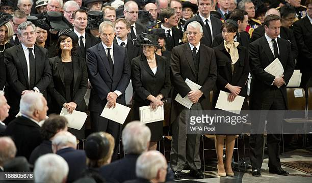 Incumbent Prime Minister David Cameron and his wife Samantha and former PM's John Major Tony Blair and Gordon Brown and their spouses Cherie Norma...
