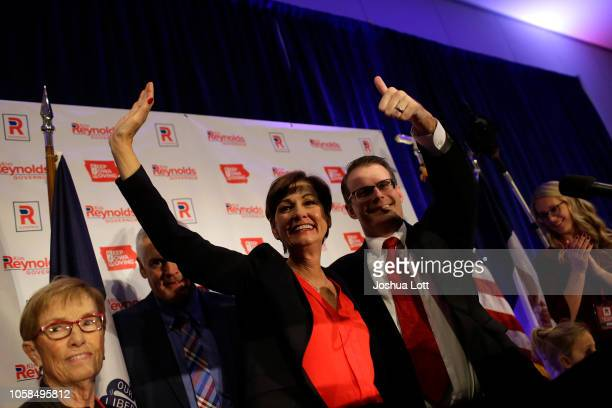 Incumbent Republican candidate for Iowa's Governor Kim Reynolds celebrates her reelection with Lieutenant Governor Adam Gregg during Iowa's GOP...