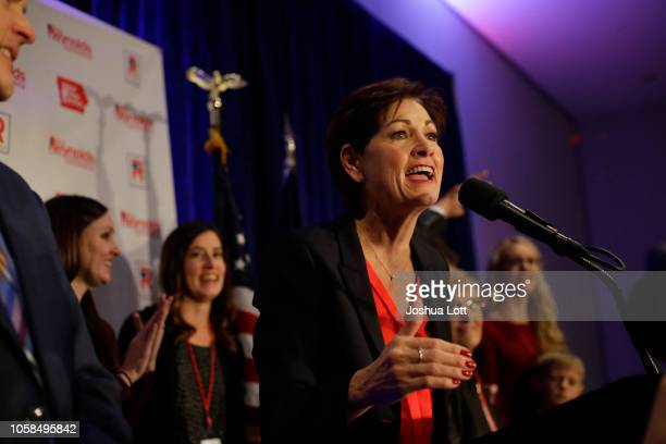 Incumbent Republican candidate for Iowa's Governor Kim Reynolds speaks as she celebrates her reelection during Iowa's GOP Election Night on November...