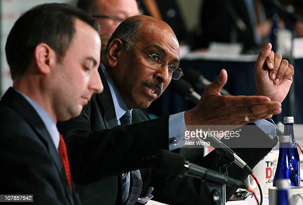 Incumbent Republican National Committee Chairman Michael Steele speaks during a debate between chairmanship candidates of the RNC, co-sponsored by...