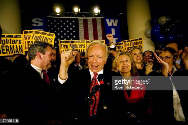 Incumbent Senator Joseph Lieberman 64 years celebrates his victory over Democratic Party rival Ned Lamont on November 7 2006 in Hartford Connecticut...