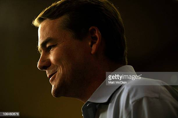 Incumbent senatorial candidate US Sen Michael Bennet speaks as he does a series of television interviews at the Marriott City Center on November 2...