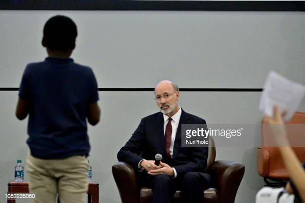Incumbent Tom Wolf listens to a question of students at a forum for the Democratic and Republican candidate for the seat of Governor at the School...