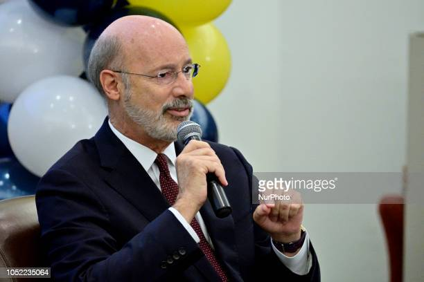 Incumbent Tom Wolf reacts to questions of students at a forum for the Democratic and Republican candidate for the seat of Governor at the School...