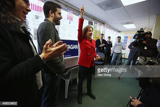 Incumbent US Sen Kay Hagan speaks to her campaign workers at a campaign office November 3 2014 in Cary North Carolina Senator Hagan is facing...
