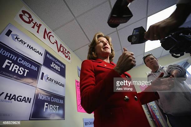 Incumbent US Sen Kay Hagan speaks to members of the media during a visit at her campaign office November 3 2014 in Cary North Carolina Senator Hagan...