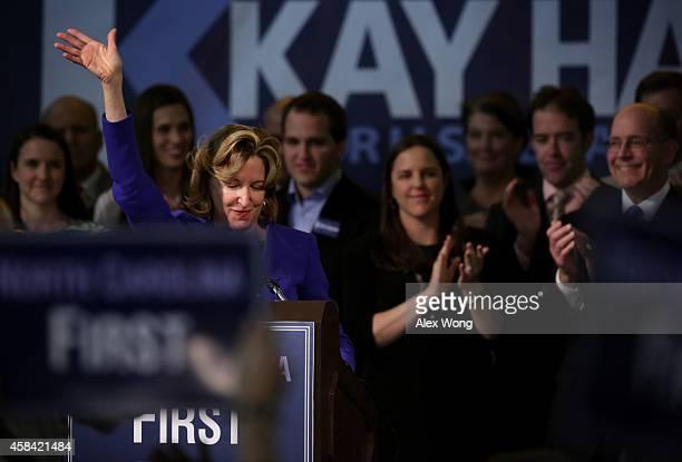 Incumbent US Sen Kay Hagan waves to supporters as she concedes during her election night party November 4 2014 in Greensboro North Carolina Sen Hagan...