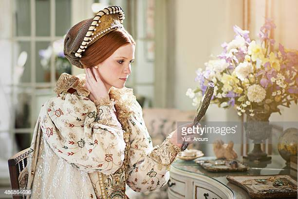 indeed i am the fairest in the kingdom! - elizabethan style stock photos and pictures