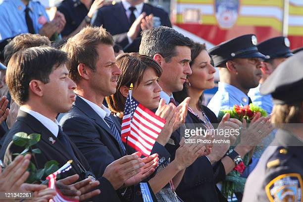 Indelible The CSI team at the memorial/dedication at the Brooklyn Wall of remembrance during the eighth season premiere of CSI NY Friday Sept 23 on...
