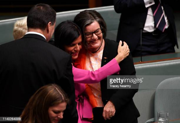 Independant Cathy McGowan is fellow Independant Julia Banks makes her valedictory speach at Parliament House on April 04 2019 in Canberra Australia...