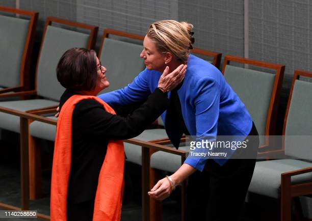 Independant Cathy McGowan is hugged by Nationals Senator Bridget McKenzie as she leaves the House after making her valedictory speach in the House of...