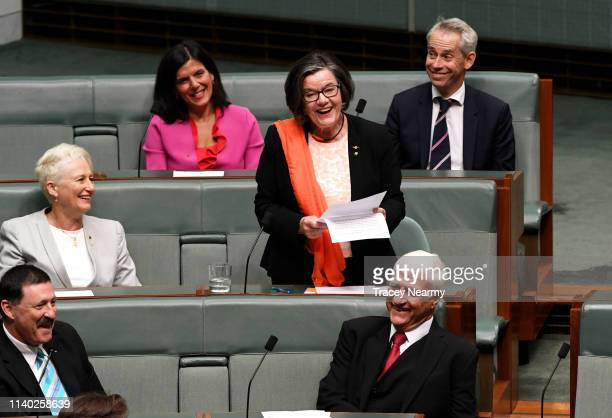 Independant Cathy McGowan is surrounded by fellow independant ministers as she makes her valedictory speach at Parliament House on April 04 2019 in...