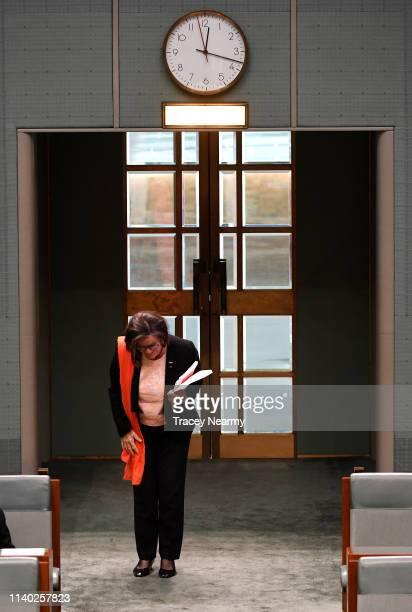 Independant Cathy McGowan leaves the House after making her valedictory speach in the House of Representatives at Parliament House on April 04 2019...