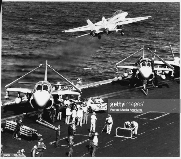 USS Independence an 80000 ton aircraft carrier is involved in the coral sea exercise A F14 Tomcat taking off from the USS Independence April 30 1992