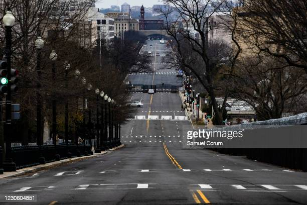 Independence Avenue is virtually empty on January 15, 2021 in Washington, DC. Due to security threats following last week's storming of the U.S....