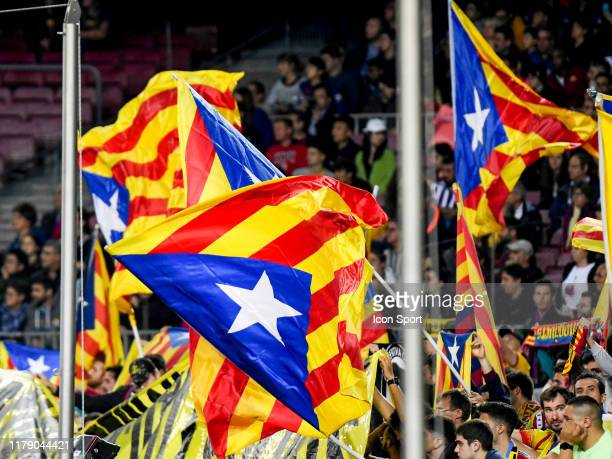 Independence flags of Catalonia during the Liga match between Barcelona and Valladolid at Camp Nou on October 29, 2019 in Barcelona, Spain.