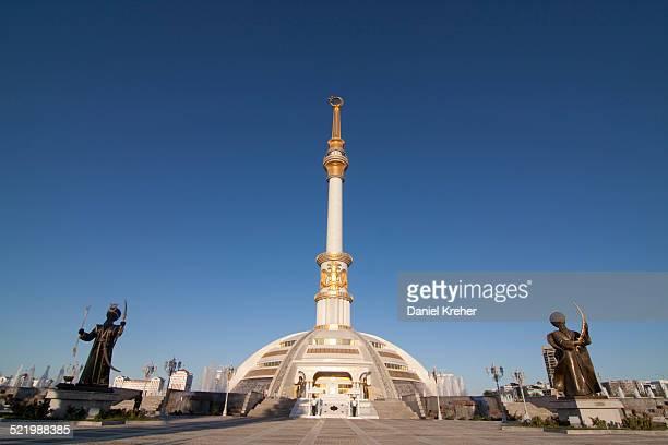 independence monument, ashgabat, aghal, turkmenistan - ashgabat stock pictures, royalty-free photos & images
