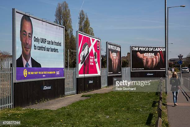 Independence Party and Conservatives posters are displayed on billboards on April 21, 2015 in Grays, England. The south Essex constituency of...
