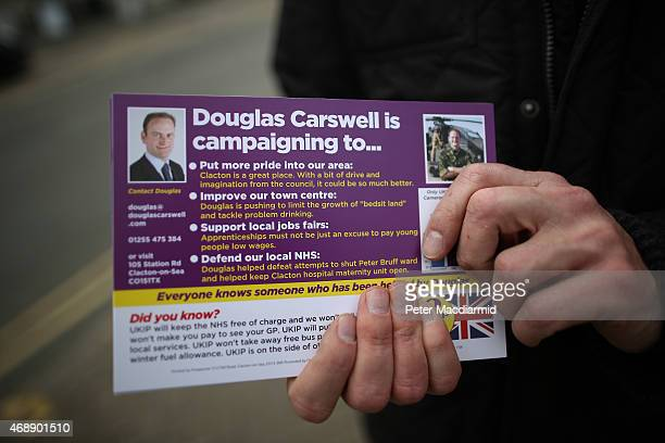 Independence Party candidate Douglas Carswell distributes leaflets on April 8 2015 in ClactononSea England Mr Carswell was formally the local...