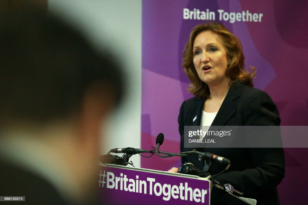 UK Independence Party (UKIP) deputy chair Suzanne Evans speaks at the launch of the party's general election manifesto in central London on May 25, 2017. Britain goes to the polls on June 8 to elect a new parliament in a general election. / AFP PHOTO / Daniel LEAL