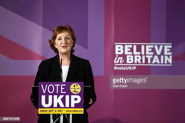 Independence Party deputy chairwoman Suzanne Evans speaks during the launch of the party's election manifesto on April 15, 2015 in Thurrock, England....