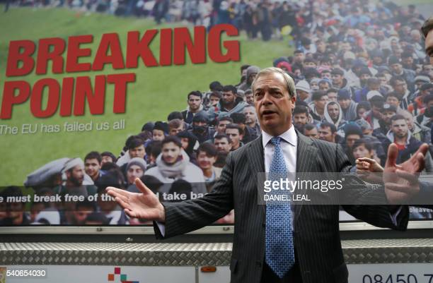 UK Independence Party Leader Nigel Farage addresses the media during the launch of a national poster campaign urging voters to vote to leave the EU...