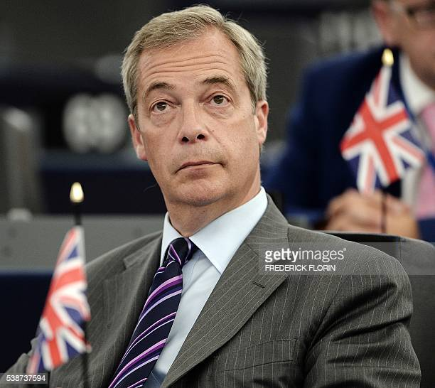 Independence Party leader Nigel Farage attends a debate on the European Commission's 315 billion investment plan for Europe, on June 8, 2016 at the...