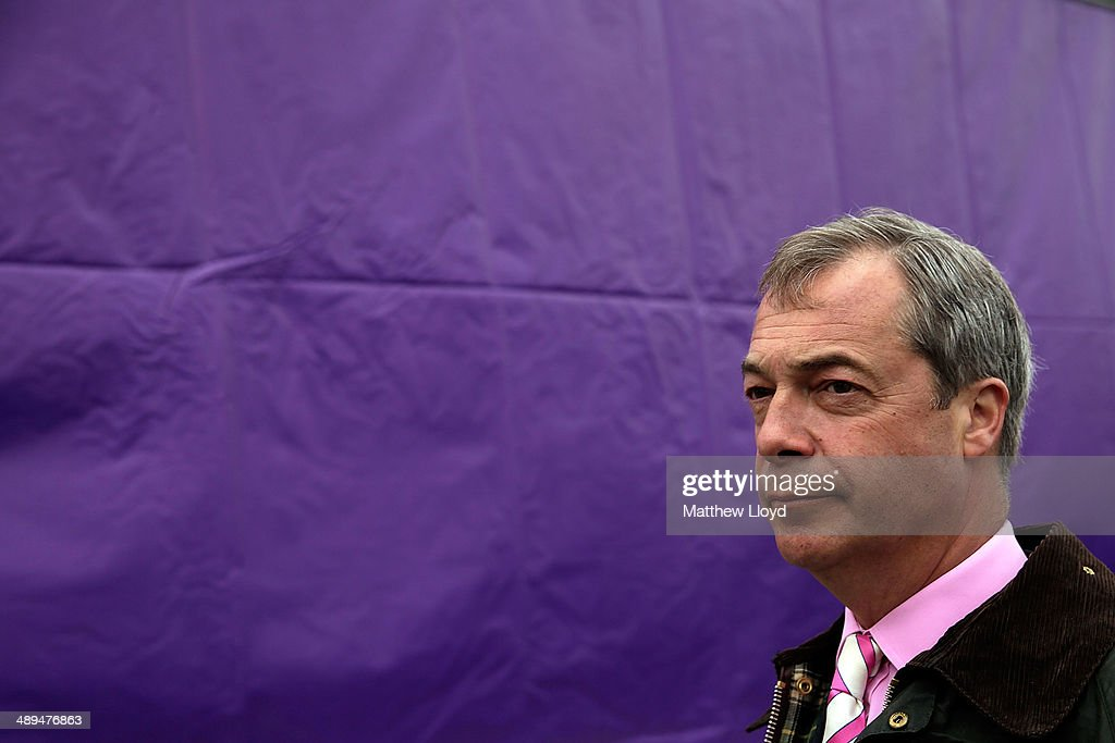 UKIP Leader Nigel Farage Unveils New Campaign Poster For European Elections : News Photo