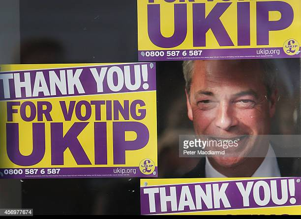 Independence Party leader Nigel farage poses for photographs at party headquarters after Douglas Carswell won the ClactononSea byelection for UKIP on...