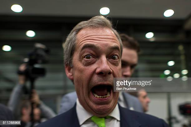 Independence Party leader Nigel Farage speaks to journalists ahead of the Grassroots Out rally at the Queen Elizabeth II Conference Centre on...