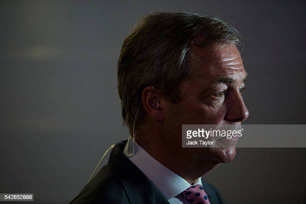 Independence Party Leader Nigel Farage waits to speak to media at the LeaveEU campaign's referendum party at Millbank Tower on June 23 2016 in London...
