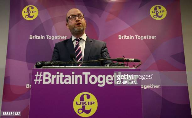 UK Independence Party leader Paul Nuttall speaks during the launch of the party's general election manifesto in central London on May 25 2017 Britain...