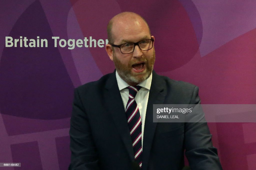 UK Independence Party (UKIP) leader Paul Nuttall speaks during the launch of the party's general election manifesto in central London on May 25, 2017. Britain goes to the polls on June 8 to elect a new parliament in a general election. / AFP PHOTO / Daniel LEAL