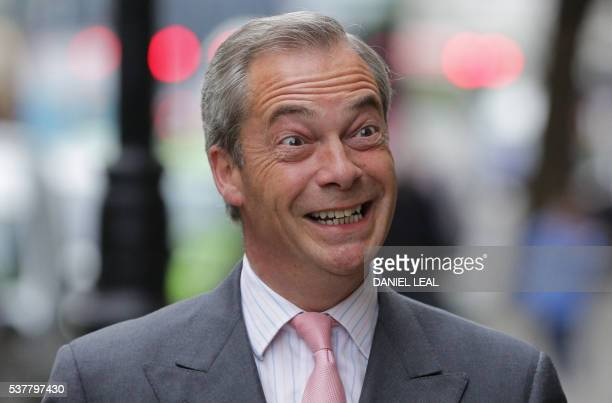 Independence Party party leader Nigel Farage poses as he arrives to speak in central London on June 3, 2016. UKIP leader Nigel Farage today said he...
