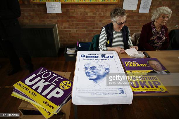 Independence Party posters and a tea towel featuring Herman Van Rompuy, President of the European Council, are sold at a UK Independence Party...