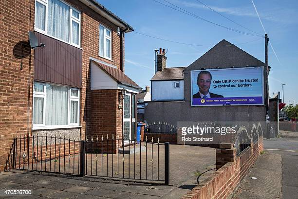 Independence Party posters are displayed on a building on April 21, 2015 in Thurrock, England. The south Essex constituency of Thurrock is a...