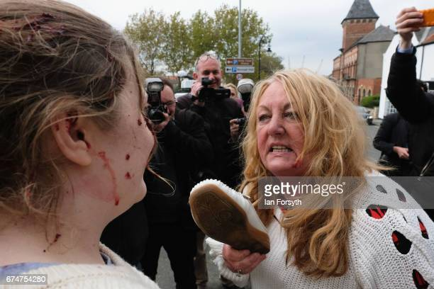 Independence Party supporter argues with a pro-europe supporter ahead of a visit by UKIP leader Paul Nuttall to Hartlepool on April 29, 2017 in...