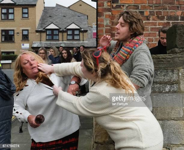Independence Party supporter scuffles with a proeurope supporter ahead of a visit by UKIP leader Paul Nuttall to Hartlepool on April 29 2017 in...