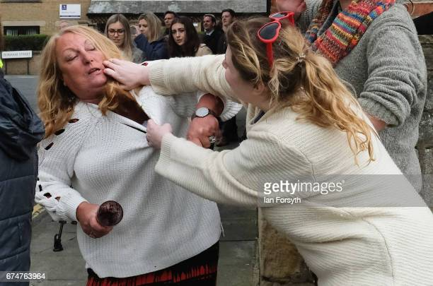 A UK Independence Party supporter scuffles with a proeurope supporter ahead of a visit by UKIP leader Paul Nuttall to Hartlepool on April 29 2017 in...