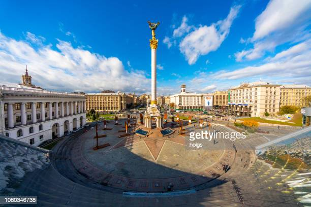 independence square founders monument in kiev, ukraine, europe - kiev stock pictures, royalty-free photos & images