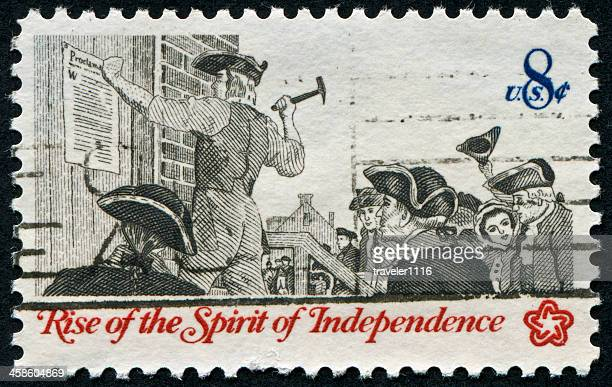 independence stamp - colonial america stock photos and pictures
