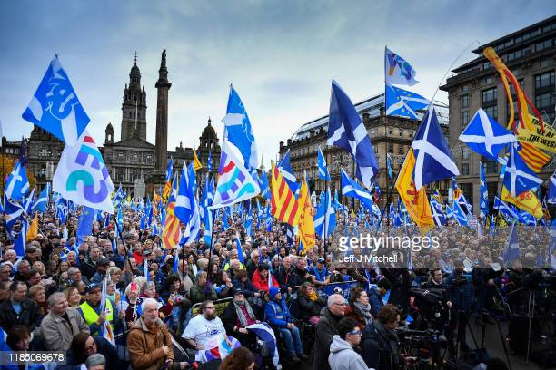 Independence supporters gather at an IndyRef2 rally in George Square on November 2 2019 in GlasgowScotland Nicola Sturgeon who will address the crowd...