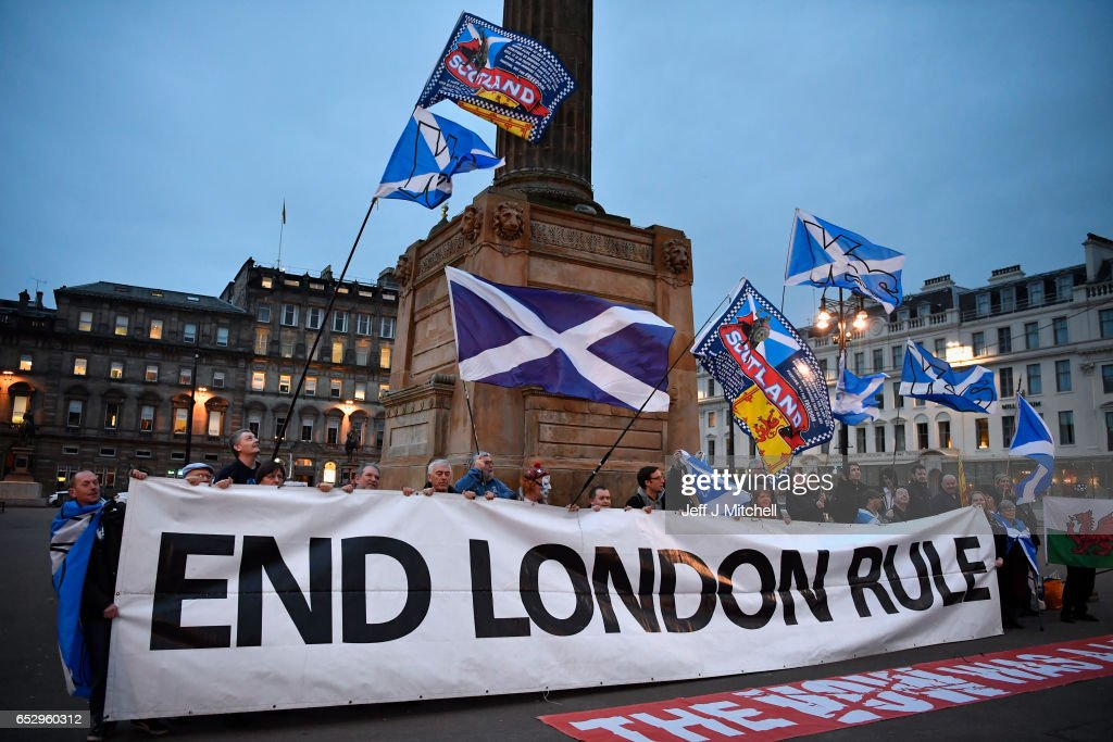 Independence supporters gather in George Square following today's announcement March 13, 2017 in Glasgow, Scotland. Scotland's First Minister Nicola Sturgeon has confirmed she will ask for permission to hold a second Scottish independence referendum.