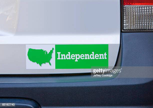 independent bumper sticker on car - bumper sticker stock photos and pictures